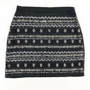 Alya Womens A Line Mini Skirt Black Silver Size M